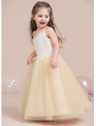 A-Line/Princess V-neck Floor-Length Tulle Junior Bridesmaid Dress With Beading Sequins