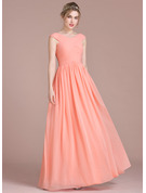 A-Line/Princess V-neck Floor-Length Chiffon Prom Dresses With Ruffle