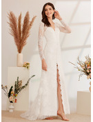 A-Line V-neck Sweep Train Wedding Dress With Beading Sequins Split Front