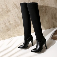 Women's Leatherette Stiletto Heel Platform Over The Knee Boots With Split Joint shoes