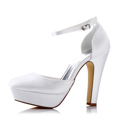 Women's Silk Like Satin Chunky Heel Pumps Sandals With Buckle Hollow-out