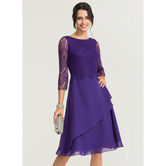 Scoop Neck Knee-Length Chiffon Cocktail Dress (270194124)
