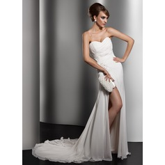 A-Line/Princess Sweetheart Chapel Train Chiffon Wedding Dress With Ruffle Lace Beading Sequins Split Front