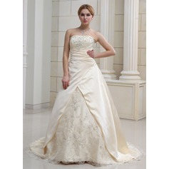 A-Line/Princess Sweetheart Court Train Satin Organza Wedding Dress With Embroidered Beading