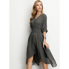 Polyester With Resin solid color/Crumple Knee Length Dress (199208250)