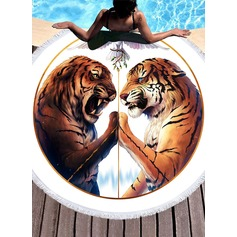 Tiger Pattern Oversized/round Polyester Beach towel