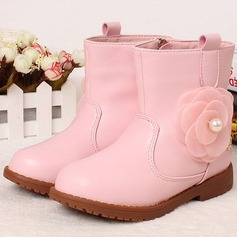Girl's Leatherette Flat Heel Round Toe Closed Toe Boots With Imitation Pearl Flower