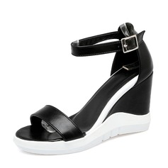 Donna PVC Zeppe Sandalo Stiletto Zeppe Punta aperta con Fibbia scarpe
