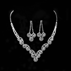 Flower Shaped Alloy With Rhinestone Women's Jewelry Sets (137144864)