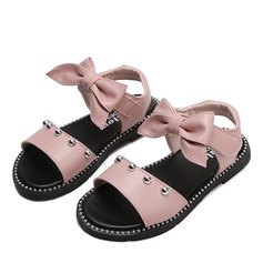 Jentas Titte Tå Leather flat Heel Sandaler Flate sko Flower Girl Shoes med Bowknot Velcro Rivet