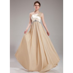 A-Line/Princess One-Shoulder Floor-Length Chiffon Charmeuse Prom Dress With Ruffle Beading