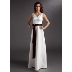 A-Line/Princess V-neck Floor-Length Satin Bridesmaid Dress With Sash Bow(s)