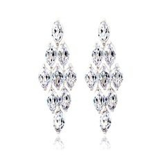 Luxurious Zircon/Platinum Plated Ladies' Earrings