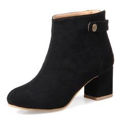 Frauen Veloursleder Stämmiger Absatz Absatzschuhe Stiefel Stiefelette mit Niete Schuhe
