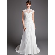 A-Line/Princess High Neck Court Train Chiffon Tulle Wedding Dress With Ruffle Lace Beading