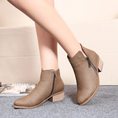 Women's Leatherette Low Heel Flats Closed Toe Boots Ankle Boots With Zipper shoes (088122458)
