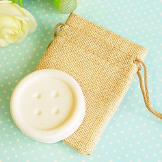 """Cute as a Button"" Scented Button Soap in Burlap Bag"