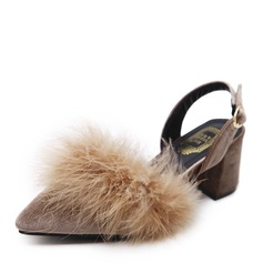 Women's Suede Chunky Heel Pumps Closed Toe With Fur shoes