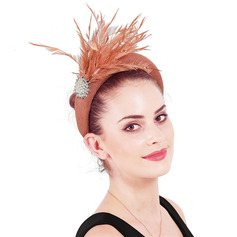 Ladies' Glamourous/Elegant Cambric With Feather/Imitation Pearls Fascinators/Kentucky Derby Hats