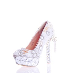 Women's Real Leather Stiletto Heel Pumps With Flower Crystal Heel Crystal Pearl