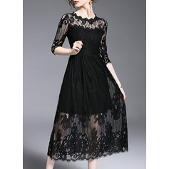 Lace With Bowknot/Stitching/Hollow/Crumple/See-through Look Maxi Dress (199133025)