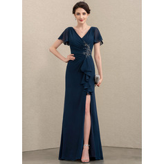 Sheath/Column V-neck Floor-Length Chiffon Evening Dress With Beading Split Front Cascading Ruffles