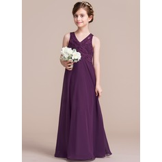 A-Line/Princess V-neck Floor-Length Chiffon Junior Bridesmaid Dress With Ruffle (009095077)