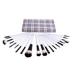 20 Pcs Natural Goat Hair Makeup Brush Set With Trellis Design Pouch (046049497)