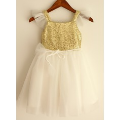A-Line/Princess Knee-length Flower Girl Dress - Tulle/Sequined Sleeveless Straps With Sash