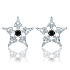 Lovely Zircon/Platinum Plated Ladies' Earrings