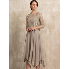 Scoop Neck Tea-Length Chiffon Lace Mother of the Bride Dress With Bow(s) (267235474)