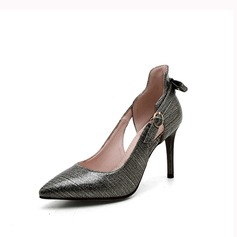 Women's Leatherette Stiletto Heel Pumps With Buckle Hollow-out shoes