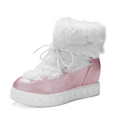 Women's PU Wedge Heel Flats Wedges Mid-Calf Boots With Lace-up Fur shoes