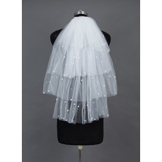 Four-tier Cut Edge Elbow Bridal Veils With Beading