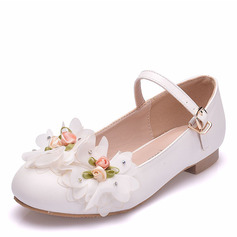 Girl's Round Toe Closed Toe Mary Jane Leatherette Flats With Buckle Flower