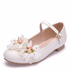 Mädchens Round Toe Geschlossene Zehe Mary Jane Leder Flache Schuhe mit Schnalle Blume