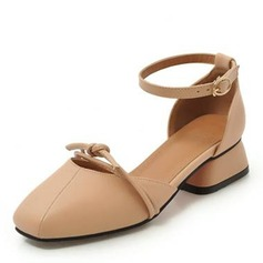 6063cba18b7 Women s Leatherette Chunky Heel Sandals Closed Toe With Bowknot ...