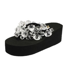 Women's Cloth Wedge Heel Sandals Flip-Flops With Rhinestone shoes (087089802)