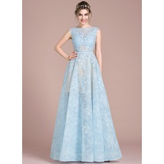 Ball-Gown Scoop Neck Floor-Length Tulle Lace Prom Dress