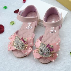 Girl's Peep Toe Leatherette Flat Heel Sandals Flats Flower Girl Shoes With Bowknot Velcro Crystal