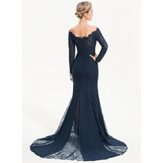 Trumpet/Mermaid Off-the-Shoulder Sweep Train Chiffon Evening Dress