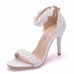 Women's Leatherette Stiletto Heel Peep Toe Platform Sandals With Imitation Pearl Flower