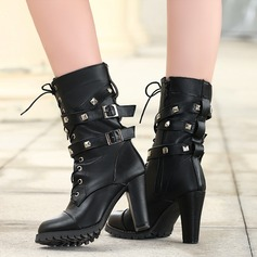 Women's PU Chunky Heel Boots Mid-Calf Boots With Rivet Buckle Zipper Lace-up shoes