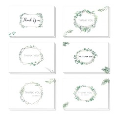 Floral Style Side Fold Thank You Cards (set Of 6)