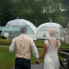 Simple/Elegant Bride And Groom Plastic/Stainless Steel/PVC Wedding Umbrellas  (051251061)