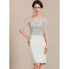 Sheath/Column Scoop Neck Knee-Length Satin Lace Cocktail Dress