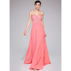 A-Line/Princess Sweetheart Sweep Train Chiffon Prom Dress With Beading Sequins