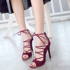 Women's Suede Stiletto Heel Sandals With Lace-up shoes