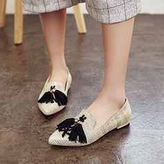 Women's Leatherette Flat Heel Flats Closed Toe With Tassel Others shoes