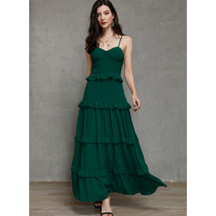 Polyester With Crumple/Ruffles/Solid Maxi Dress (199228912)